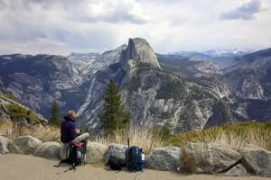 Zicht op Half Dome in Yosemite N.P.